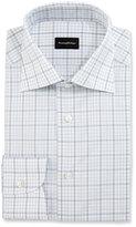 Ermenegildo Zegna Large-Check Dress Shirt, White/Blue/Brown