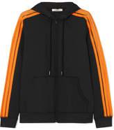 Ganni Presbourg Mesh-trimmed Satin-jersey Hooded Top - Black