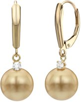 La Regis Jewelry 14k Yellow Gold .10tcw diamond 10-10.5mm Round South Sea Cultured Pearl Lever-back Earrings