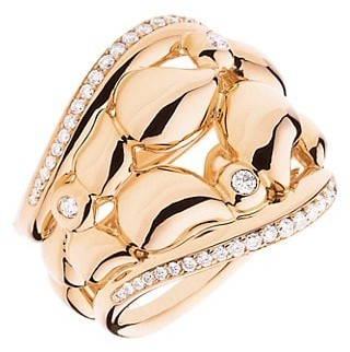 Tamara Comolli Lace 18K Rose Gold & Diamond Large Ring