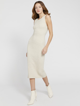 Alice + Olivia Jenner Crew Neck Fitted Midi Dress