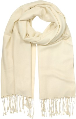 Forzieri Butter Cream Pashmina & Silk Fringed Shawl