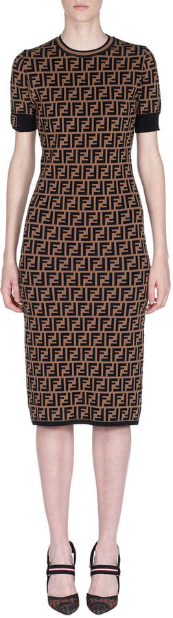 Fendi Short-Sleeve Logo Knit Midi Dress