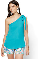 New York & Co. Bow-Detail One-Shoulder Blouse - Turquoise