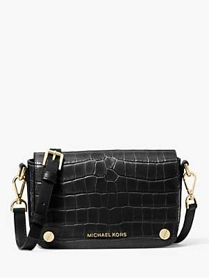 Michael Kors MICHAEL Small Jet Set Leather Cross Body Bag, Black