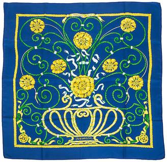 One Kings Lane Vintage Hermes Blue Jounce Silk Scarf - Vintage Lux