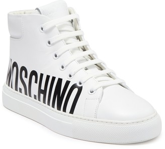 Moschino Logo High Top Leather Sneaker