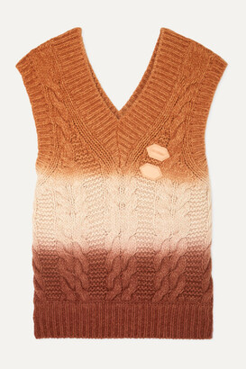 Off-White Off White Appliqued Ombre Cable-knit Wool And Cashmere-blend Vest - Orange