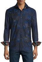 Robert Graham Limited Edition Tonal-Embroidered Sport Shirt, Navy