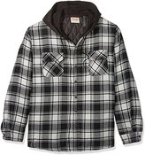 Wrangler Men's Big and Tall Long Sleeve Quilted Lined Flannel Shirt Jacket W/ Hood