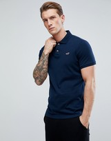 Hollister Slim Fit Pique Polo In Navy