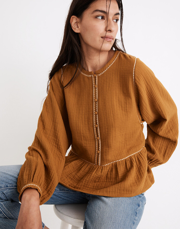 Embroidered-Trim Lightspun Covered-Button Top