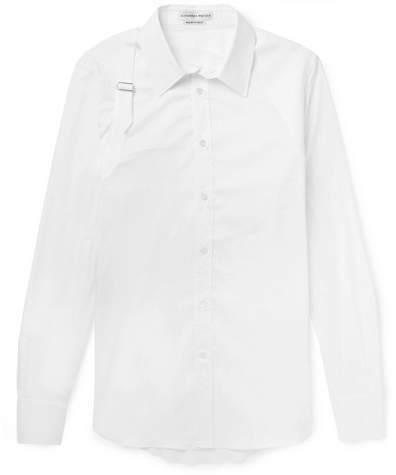 Alexander McQueen Slim-Fit Harness-Detailed Pique-Panelled Stretch Cotton-Blend Poplin Shirt - White