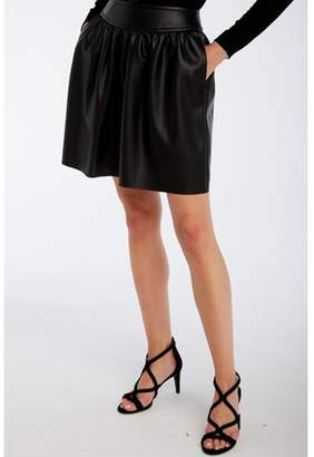Naf Naf Flared Short Faux Leather Skirt with Pleats