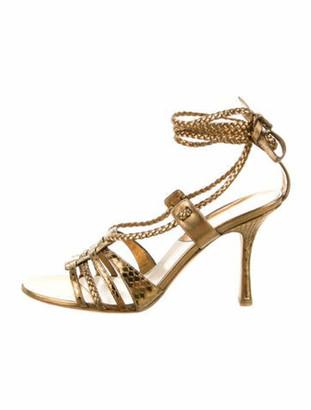 Christian Dior Leather Animal Print Gladiator Sandals Gold