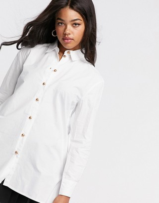 Pieces longline shirt in white