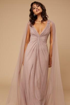 Little Mistress Bridesmaid Eden Mink Knot-Front Maxi Dress