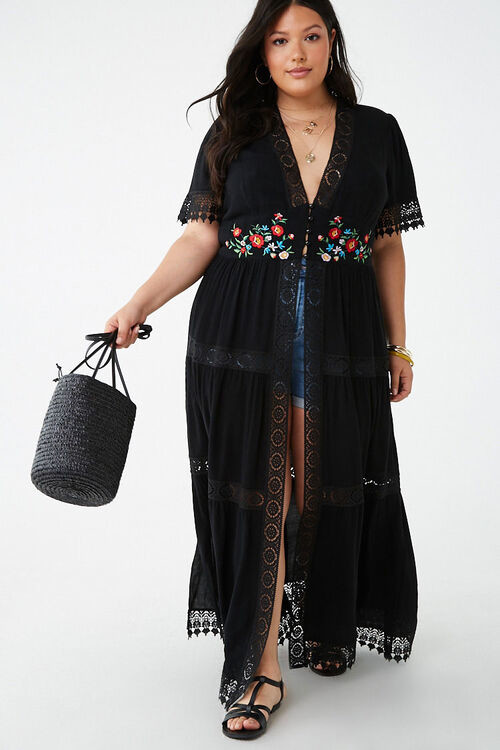 Forever 21 Plus Size Floral Embroidered Kimono