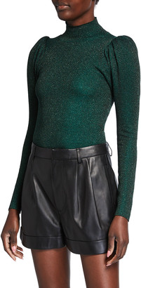 Alice + Olivia Issa Puff-Sleeve Turtleneck Sweater