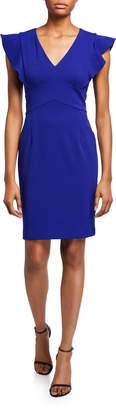 DKNY Ruffle Cap-Sleeve Sheath Dress