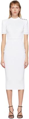 Balmain White Open Knit Dress