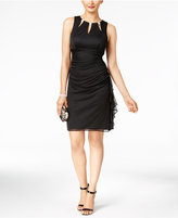 Betsy & Adam BandA by Embellished Ruffled Sheath Dress