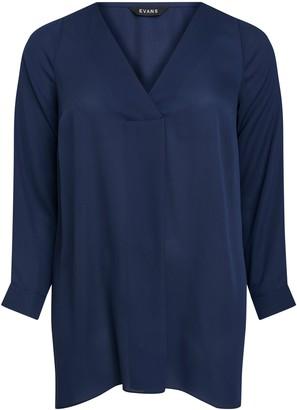 Evans Navy Blue Long Sleeve Cross Front Top