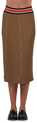 ATM Anthony Thomas Melillo Stripe Waist Rib-Knit Silk-Cotton Midi Pencil Skirt