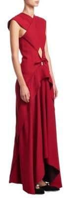 Proenza Schouler Cross-Front Cutout Gown