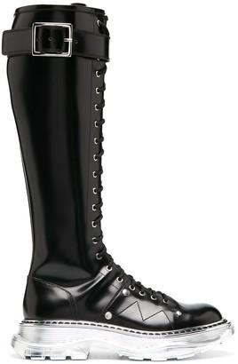 Alexander McQueen Knee-High Lace-Up Boots