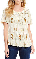 Lucky Brand Short Sleeve Mix Print Round Neck Knit Top