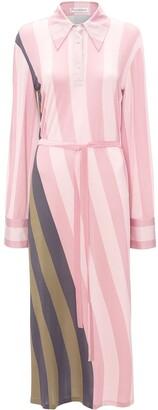 J.W.Anderson Warped Strip Print Polo Dress