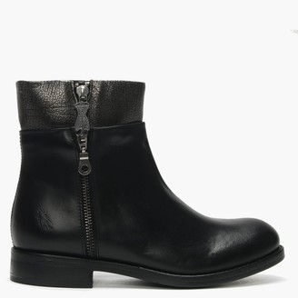 Fly London Abys Black & Anthracite Silver Leather Triple Zip Ankle Boots