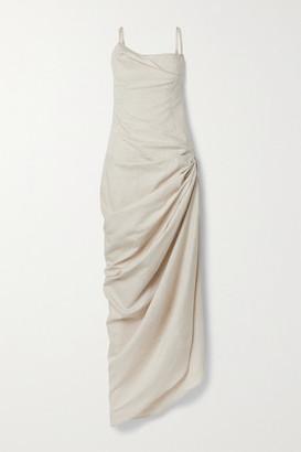 Jacquemus Saudade Ruched Linen And Cotton-blend Maxi Dress