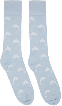 Thom Browne Blue Intarsia Dolphin Icon Socks