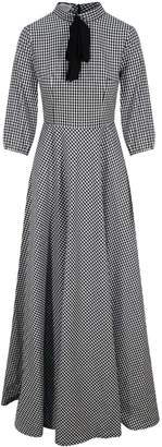 Zalinah White Adele Bias Cut Maxi Check Dress In Black & White Gingham With Neck Bow