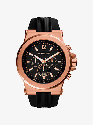 Michael Kors Oversized Dylan Rose Gold-Tone and Silicone Watch - Rose Gold