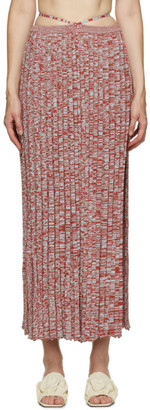 CHRISTOPHER ESBER Red and BlueRib Knit Tie Skirt