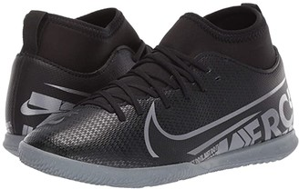Nike Kids Jr Superfly 7 Club IC Soccer (Little Kid/Big Kid) (Black/Metallic Cool Grey/Cool Grey) Kids Shoes