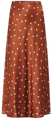 Lee Mathews Talulah polka-dot silk-satin skirt