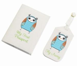 Lillian Rose Owl Luggage Tag and Passport Set
