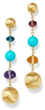 Marco Bicego 18K Yellow Gold Gemstone & Turquoise Long Drop Earrings