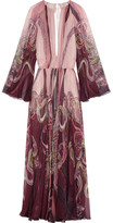 Roberto Cavalli Open-back Printed Silk-chiffon Gown - Blush