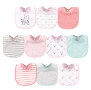 Hudson Baby Baby Girls Owl Always Love You Polyester Bibs, Pack of 10