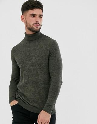 ASOS DESIGN cotton roll neck jumper in khaki twist