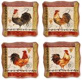 Certified International Tuscan Rooster by Pamela Gladding 4-pc. Red Square Dinner Plate Set