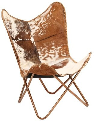 """Thumbnail for your product : Union Rustic Altieri 29.1"""" Wide Genuine Leather Butterfly Chair"""