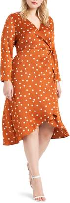 ELOQUII Polka Dot Tulip Skirt Long Sleeve Wrap Dress