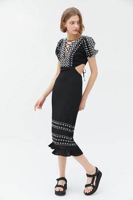 Rahi Riley Embroidered Tie-Back Midi Dress