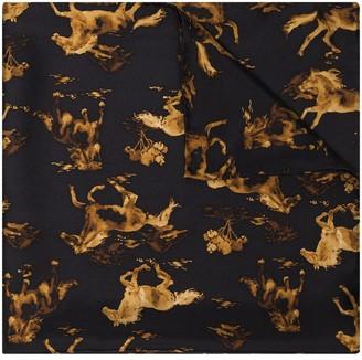 Ganni Horse-Print Silk Scarf